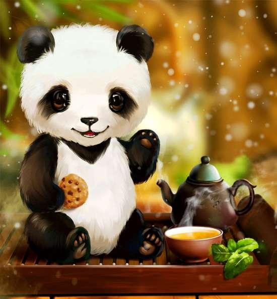 Картина по номерам 20x30 Мишка панда с печенькой