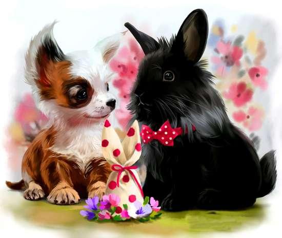 Картина по номерам 20x30 Маленькая собачка и черный кролик