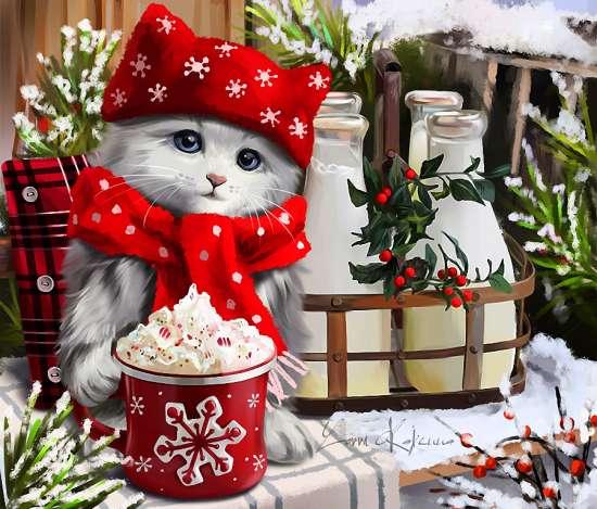 Картина по номерам 20x30 Котёнок в шапке и шарфе