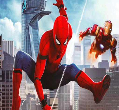 Алмазная мозаика частичная выкладка 21x25 Человек-паук и Железный человек в мегаполисе