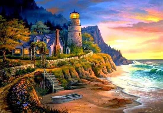 Картина по номерам 40x50 Маяк у моря