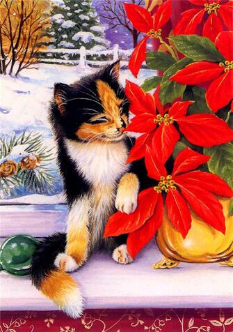 Купить милый котенок нюхает цветы за 770 руб. в Москве