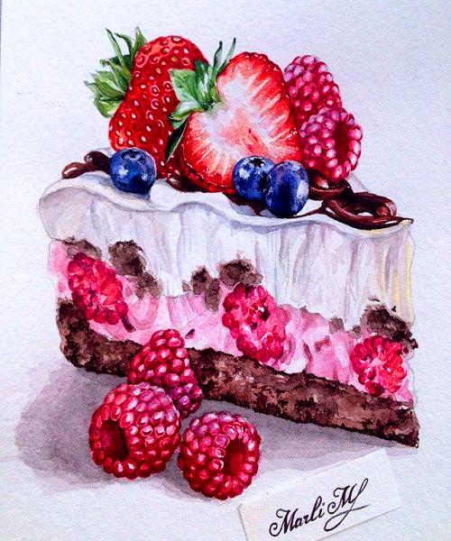 Картина по номерам 40x50 Ягодное пирожное
