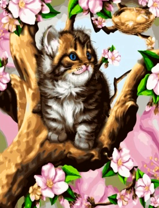 Картина по номерам 40x50 Котенок на дереве у гнезда