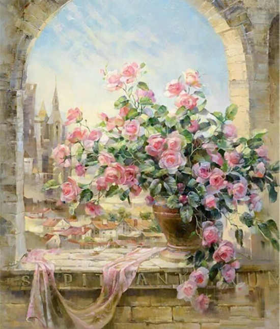 Алмазная мозаика 40x50 Нежные розы на окне