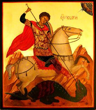 Алмазная 3D мозаика 40x50 Икона Георгию Победоносцу