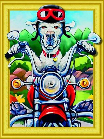 Алмазная 3D мозаика 40x50 Пёс на мотоцикле в шлеме