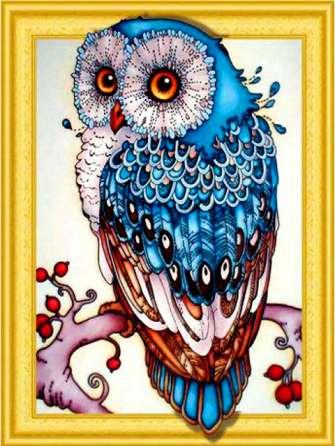 Алмазная 3D мозаика 40x50 Сова с яркими перьями на ветке