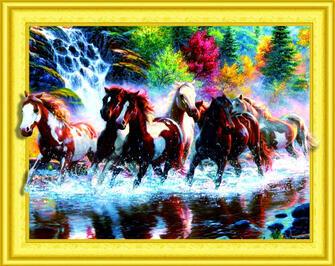 Алмазная 3D мозаика 40x50 Стадо лошадей возле горного водопада