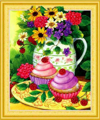 Алмазная 3D мозаика 40x50 Натюрморт цветы в вазе и кексики