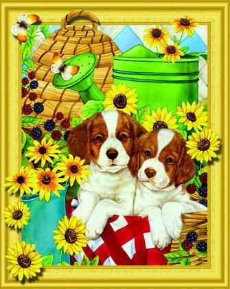 Алмазная 3D мозаика 40x50 Два щенка в корзинке с подсолнухами