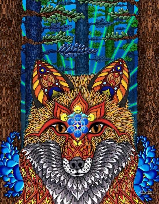 Алмазная мозаика 40x50 Колоритная лиса в лесу