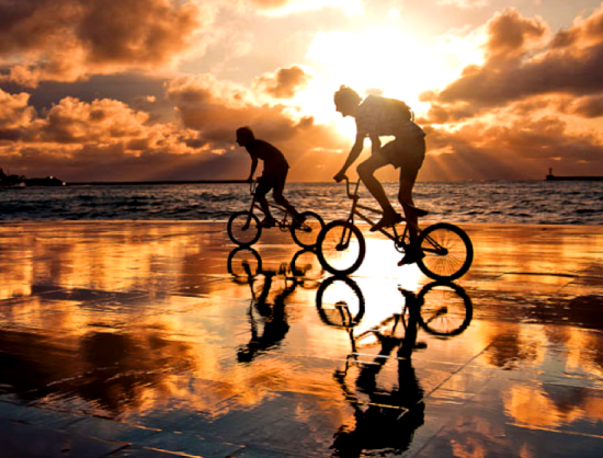 Алмазная 3D мозаика 40x50 Велосипедная прогулка у моря