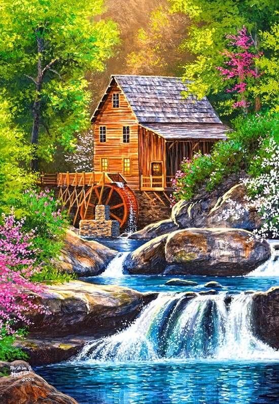 Алмазная мозаика 40x50 Водяная мельница на стремительной реке