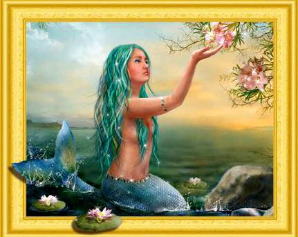 Алмазная 3D мозаика 40x50 Русалочка и цветы