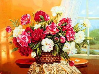 Алмазная мозаика 30x40 Букет ярких цветов в корзинке