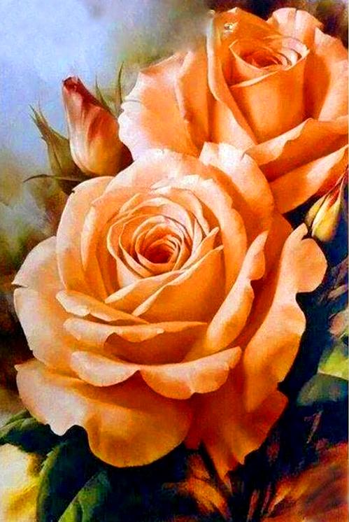 Алмазная мозаика 30x40 Пышные оранжевые розы