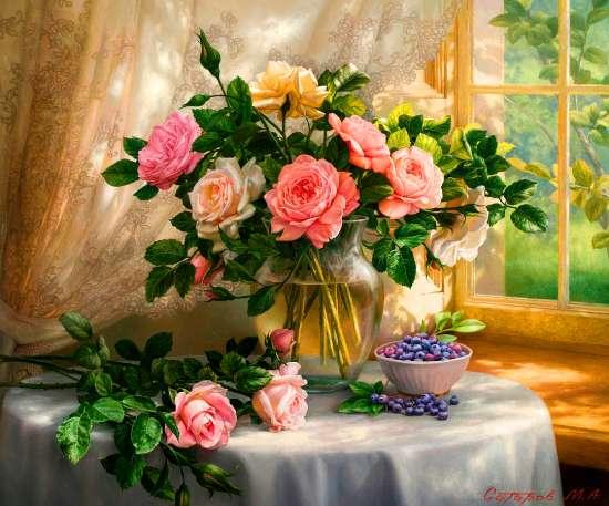 Алмазная мозаика 30x40 Розовые и белые розы на голубой скатерти