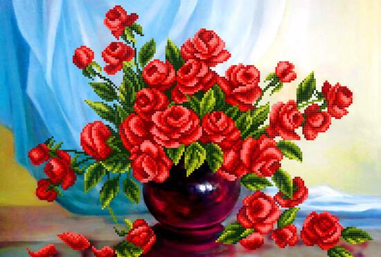 Алмазная мозаика 30x40 Большой букет красных роз