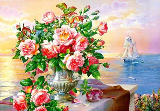 Алмазная мозаика 30x40 Букет роз на фоне моря и корабля