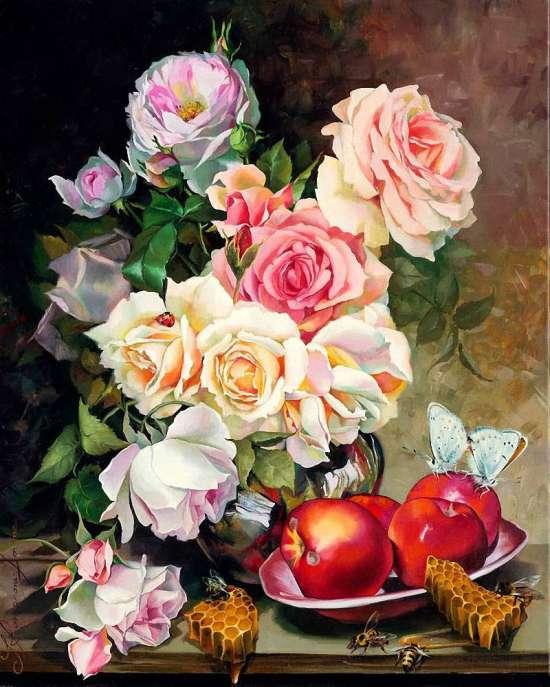 Алмазная мозаика 30x40 Пышные розы и яблоки на столе