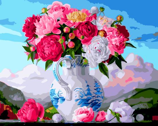 Алмазная мозаика 30x40 Букет нежных цветов на фоне гор