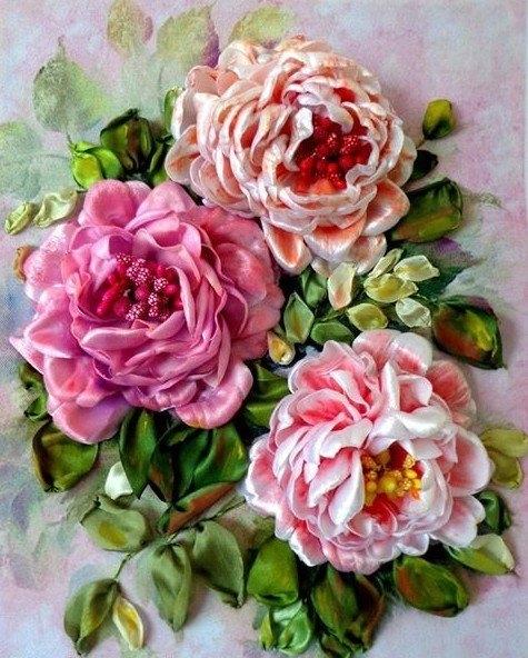 Алмазная мозаика 30x40 Три полных бутона роз