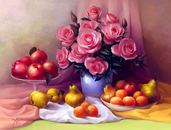 Алмазная мозаика 30x40 Фиолетовые розы, груши и яблоки на столе