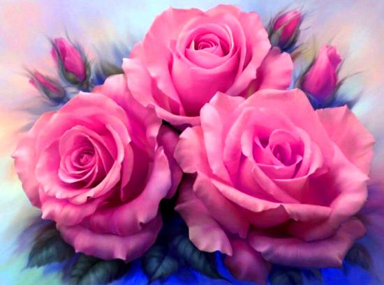 Алмазная мозаика 20х30 Бутоны розовой розы