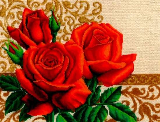 Алмазная мозаика 20х30 Красные розы на фоне узора