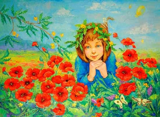 Картина по номерам 30x40 Девчонка на поле маков