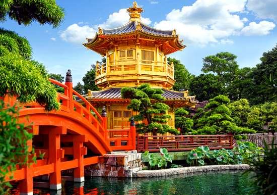 Картина по номерам 30x40 Японская пагода в укромном месте