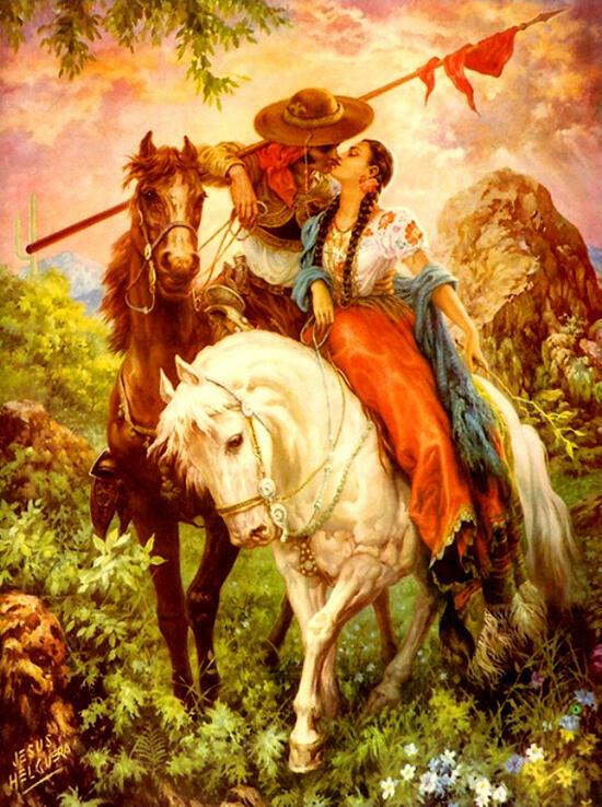 Картина по номерам 30x40 Влюбленные на лошадях
