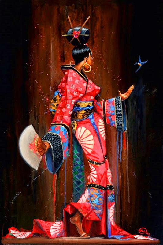 Картина по номерам 30x40 Африканская женщина с веером и птицей