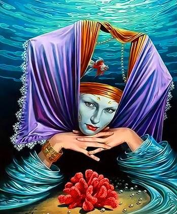 Картина по номерам 30x40 Подводная царица