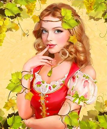 Картина по номерам 30x40 Девушка блондинка в виноградной лозе