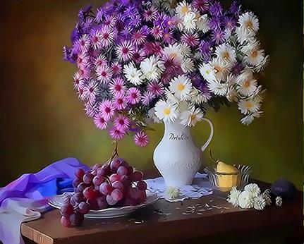 Картина по номерам 30x40 Букет хризантем и виноград
