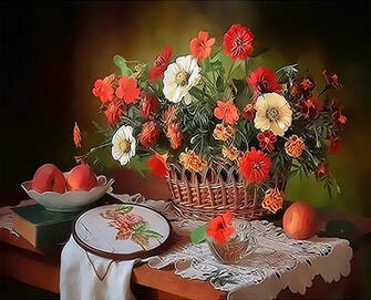 Картина по номерам 30x40 Букет в корзине, вышивка и персики