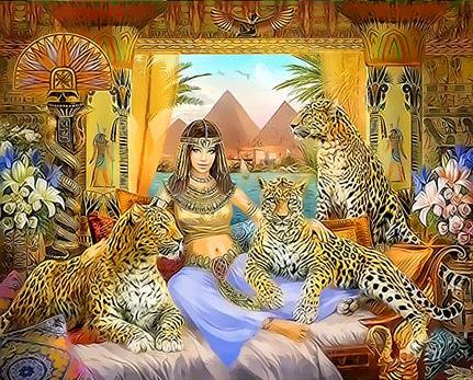 Картина по номерам 30x40 Царица и леопарды
