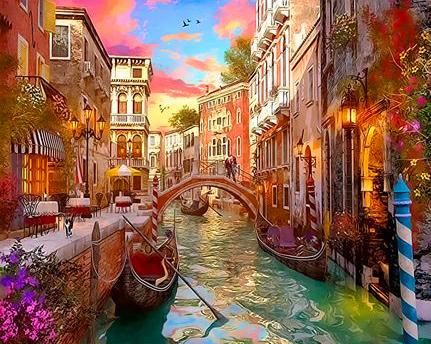 Картина по номерам 30x40 Прогулка по вечерней Венеции