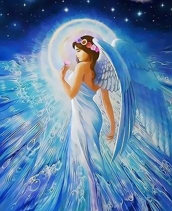 Картина по номерам 30x40 Ангел на фоне луны