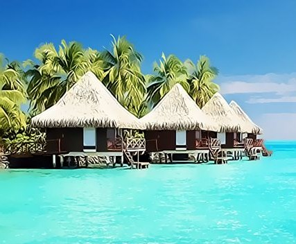 Картина по номерам 30x40 Домики на Мальдивских островах