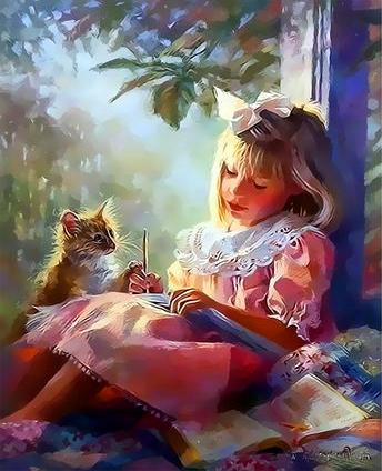 Картина по номерам 30x40 Девочка и котенок на веранде