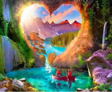 Картина по номерам 30x40 Сердце среди гор