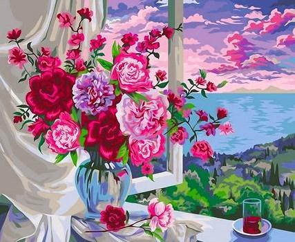 Картина по номерам 30x40 Букет роз на фоне утреннего моря