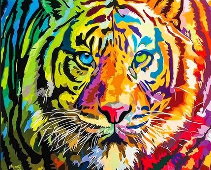 Картина по номерам 30x40 Морда большого тигра с разными глазами