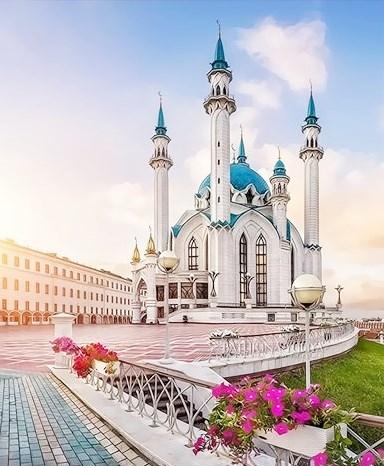Картина по номерам 30x40 Мечеть Кул Шариф в лучах солнца. Казань