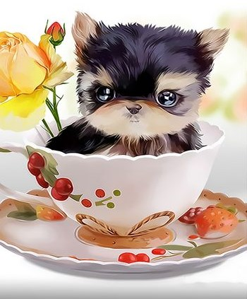 Картина по номерам 30x40 Черный щенок в чашке с розой