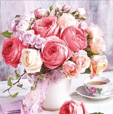 Алмазная мозаика 25x25 Букетик роз и чашечка чая