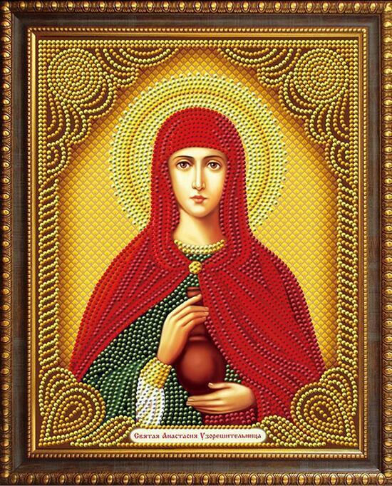 Алмазная мозаика 20x30 Икона Святая Анастасия Узорешительница